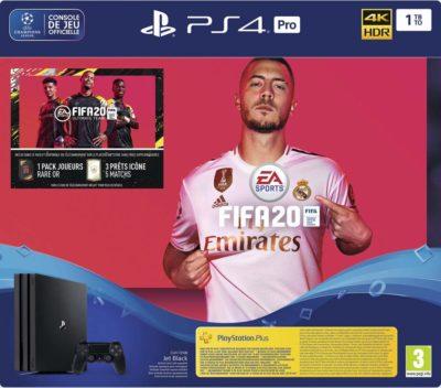 Playstation 4 Pro Noire 1 To + FIFA 20 + Abonnement PS Plus 14 jours (Digital)