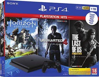 PS4 Slim 1 To Noir + Horizon Zero Dawn + The Last of Us + Uncharted 4