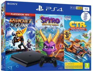 PS4 Slim Noir 1 To - Crash Team Racing + Spyro + Ratchet & Clank