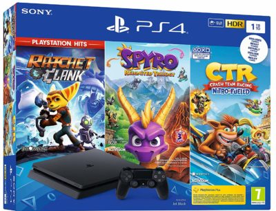 PS4 Slim Noir 1 To - Crash Team Racing + Spyro + Ratchet & Clank