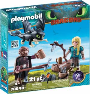 Playmobil Dragons - Harold & Astrid avec un bébé dragon
