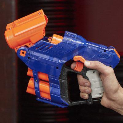 Blaster Nerf Elite Shellstrike DS-6 et Flechettes Nerf Elite Officielles Hasbro